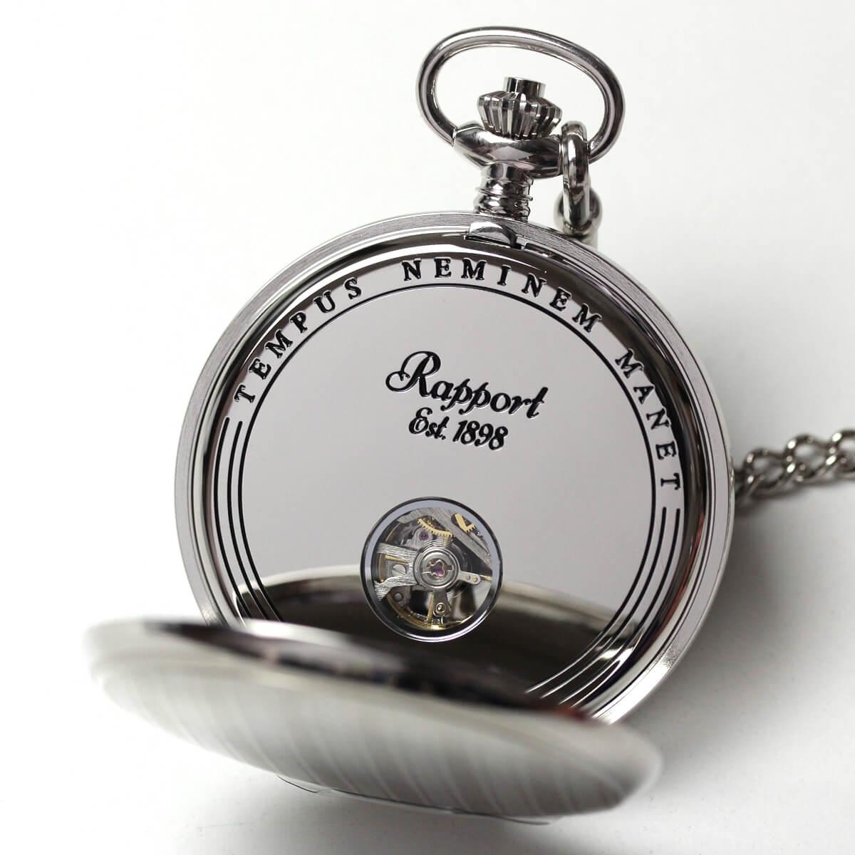 イギリスブランド rapport(ラポート) 懐中時計 pw99 裏蓋を開いたところ