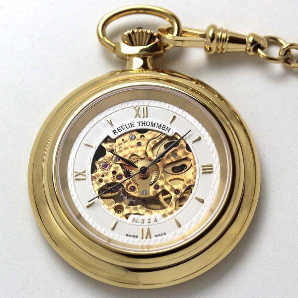 レビュートーメン スケルトン懐中時計