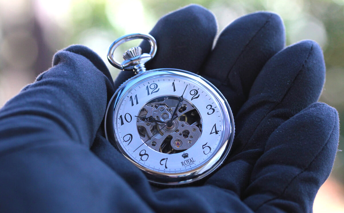 ROYAL LONDON(ロイヤルロンドン) 手巻きスケルトン懐中時計 90002-01