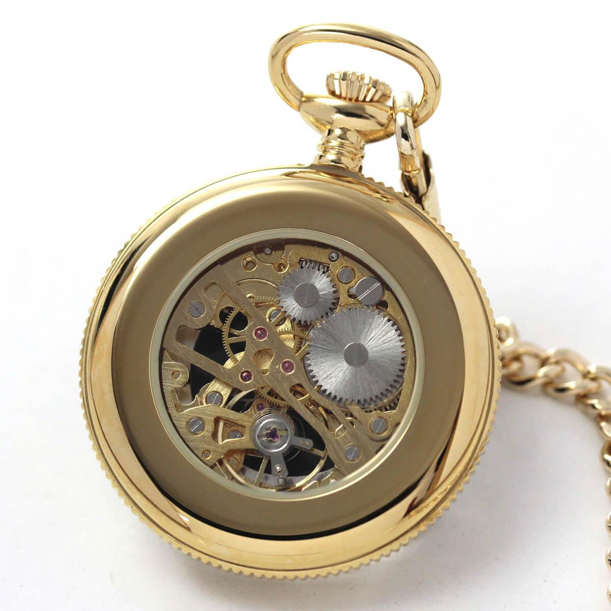 ROYAL LONDON(ロイヤルロンドン) 手巻きスケルトン懐中時計 90002-02 本体裏側