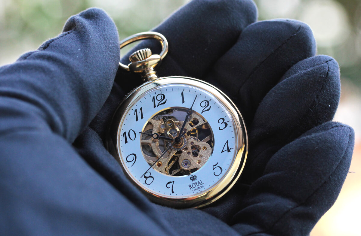 ROYAL LONDON(ロイヤルロンドン) 手巻きスケルトン懐中時計 90002-02