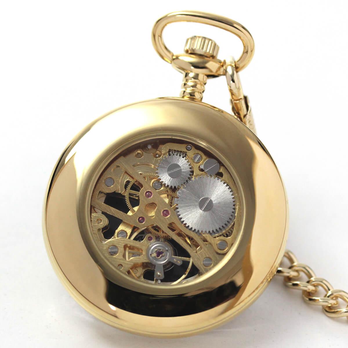 ROYAL LONDON(ロイヤルロンドン) 手巻きスケルトン懐中時計 90002-03 本体裏側
