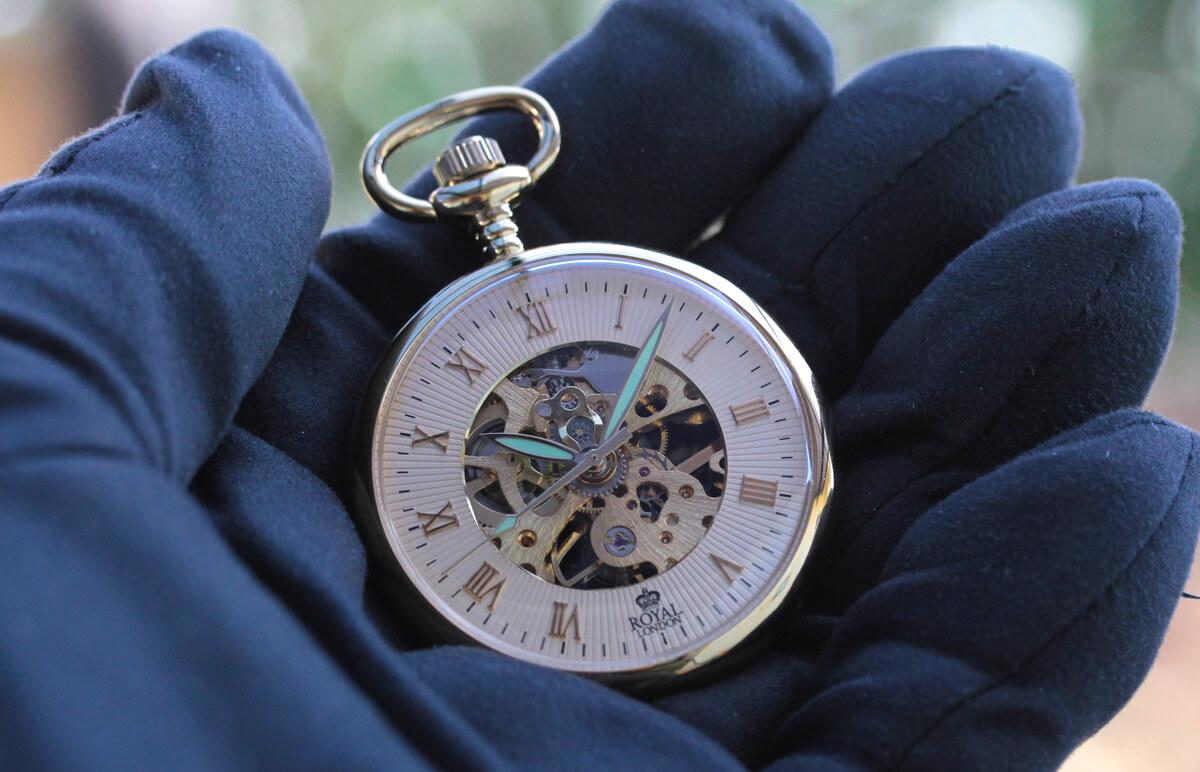 ROYAL LONDON(ロイヤルロンドン) 手巻きスケルトン懐中時計 90002-03
