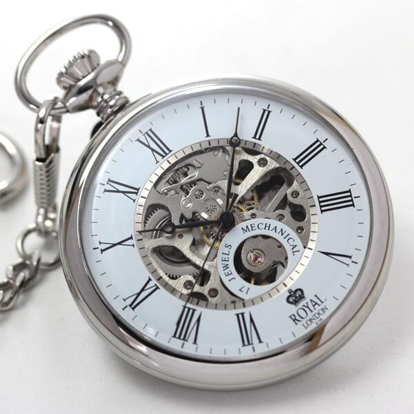 中身がよく見えるスケルトン懐中時計