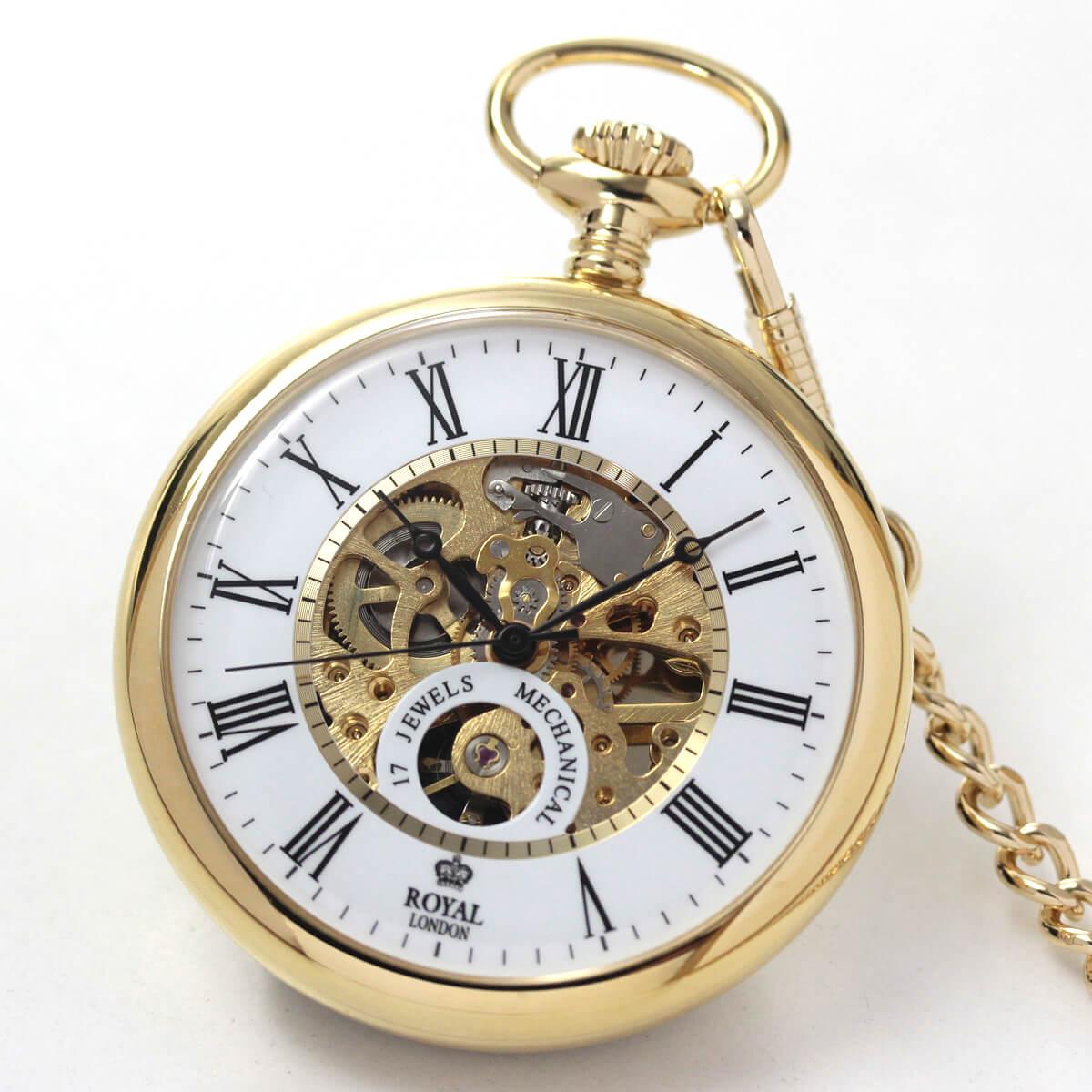 ROYAL LONDON(ロイヤルロンドン) 手巻きスケルトン懐中時計 90049-02