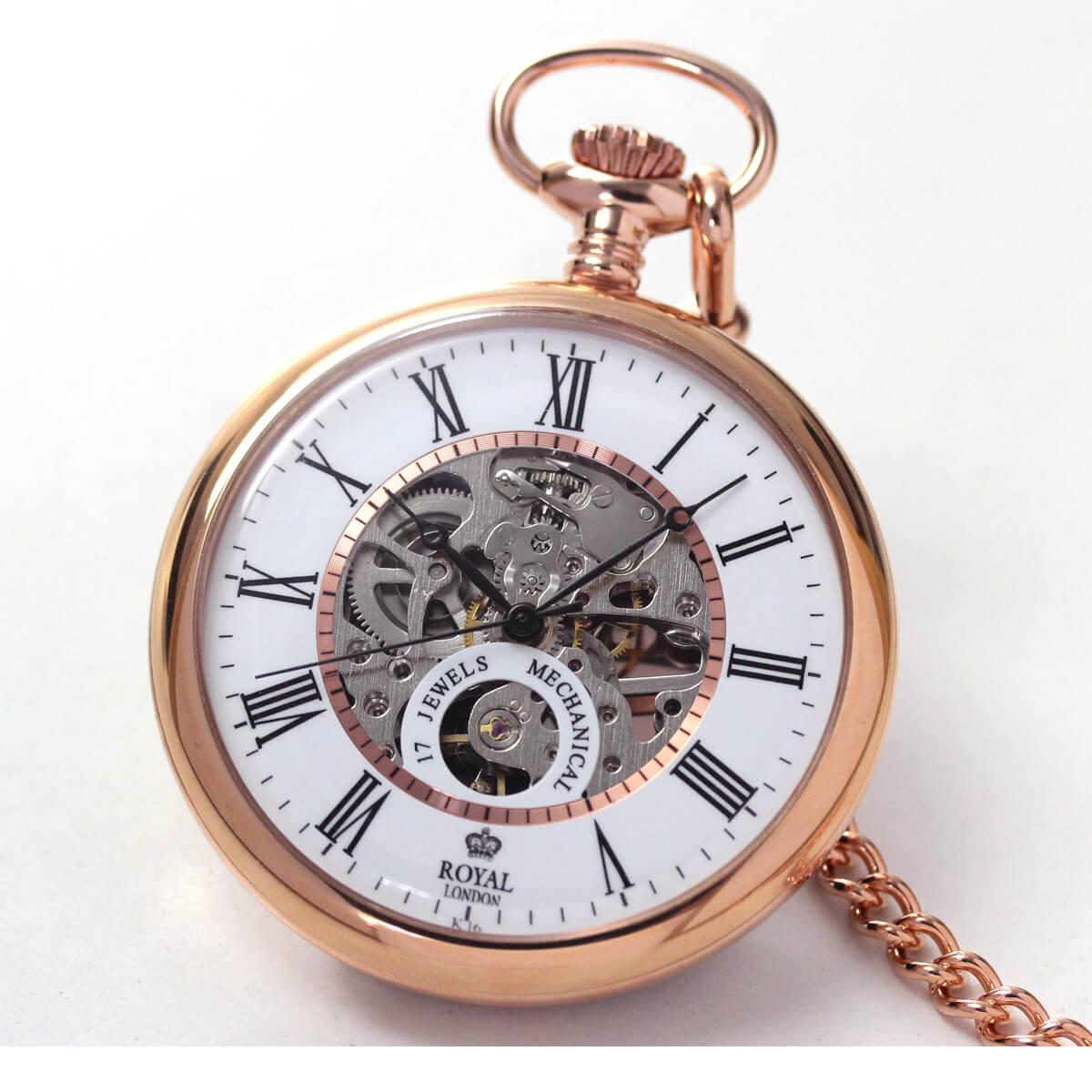 ROYAL LONDON(ロイヤルロンドン) 手巻きスケルトン懐中時計 90049-03