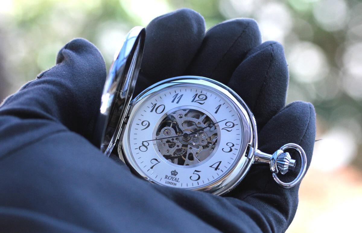 ROYAL LONDON ロイヤルロンドン 両蓋スケルトン懐中時計 90004-02