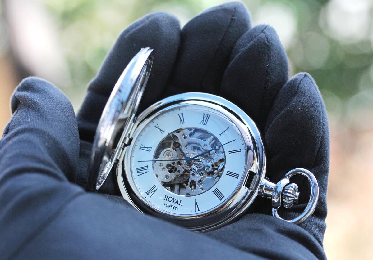 ROYAL LONDON ロイヤルロンドン 両蓋スケルトン懐中時計 90005-01