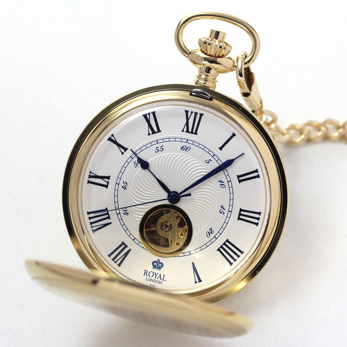 ROYAL LONDON(ロイヤルロンドン) 手巻きスケルトン懐中時計 90051-02