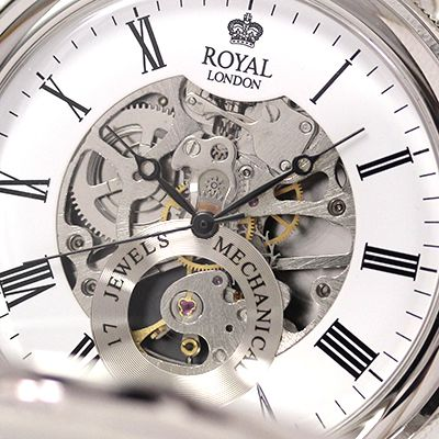 イギリスブランド ROYAL LONDON (ロイヤルロンドン) 懐中時計 9808087 スケルトン部分アップ