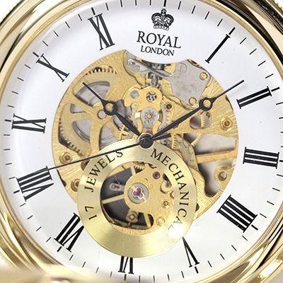 イギリスブランド ROYAL LONDON (ロイヤルロンドン) 懐中時計 9808088 スケルトン部分アップ