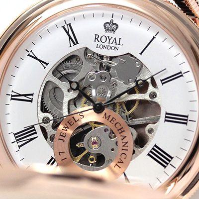 イギリスブランド ROYAL LONDON (ロイヤルロンドン) 懐中時計 9808089 スケルトン部分アップ