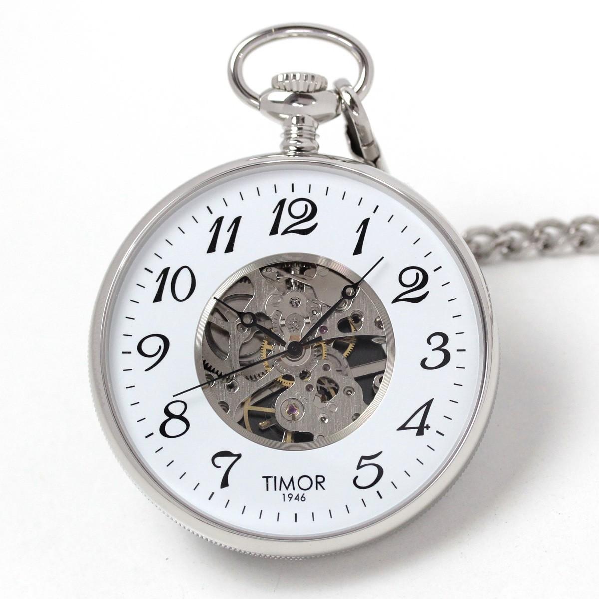 Timor(ティモール) オープンフェイス スケルトン 懐中時計 シルバーカラー TP103CH02