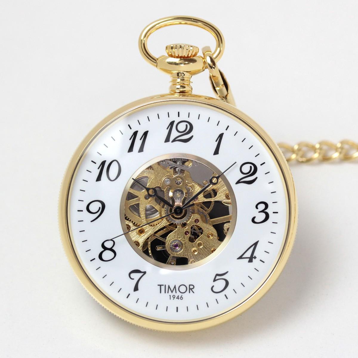 Timor(ティモール) オープンフェイス スケルトン 懐中時計 ゴールドカラー TP103JA02
