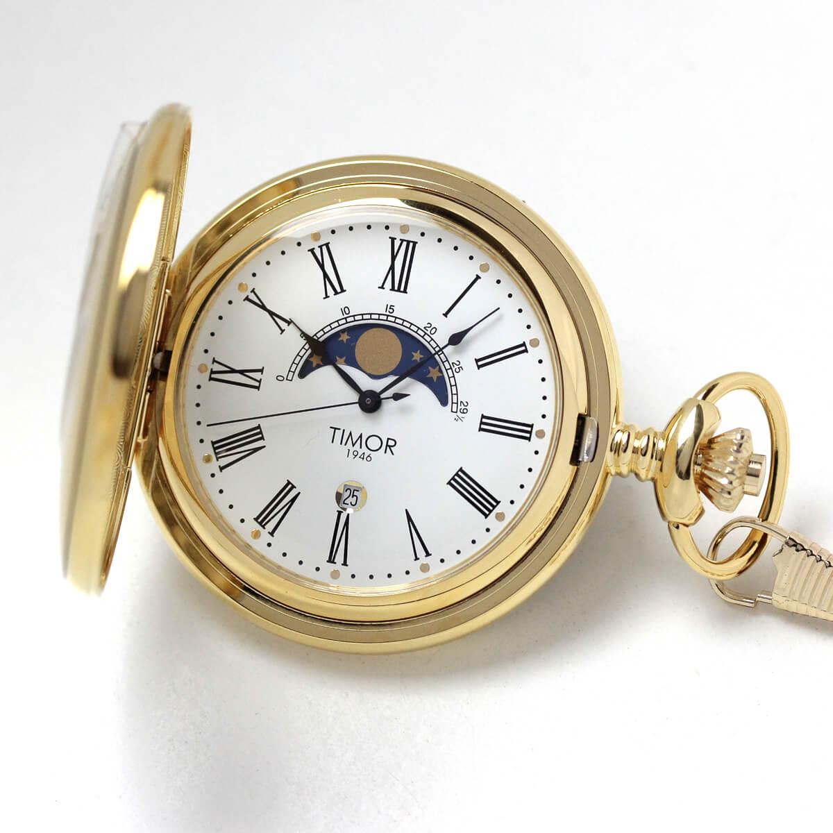 timor(ティモール) 懐中時計 ゴールドカラー ムーンフェイズとカレンダー付き