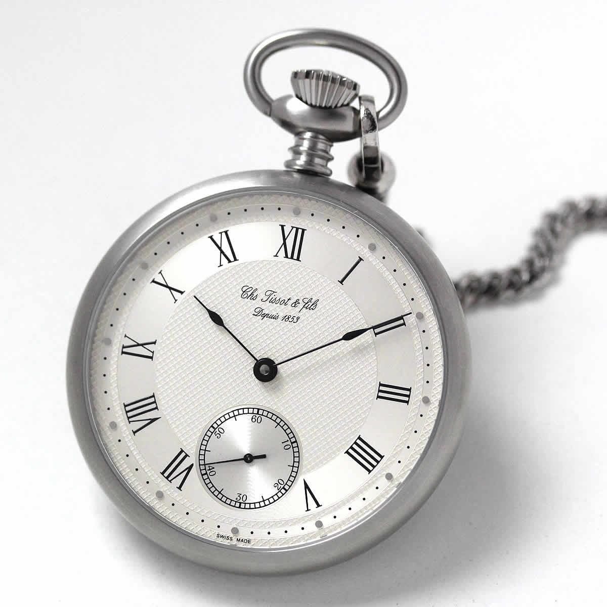 ティソ(TISSOT)蓋なし手巻き式懐中時計 T82.7.409.33