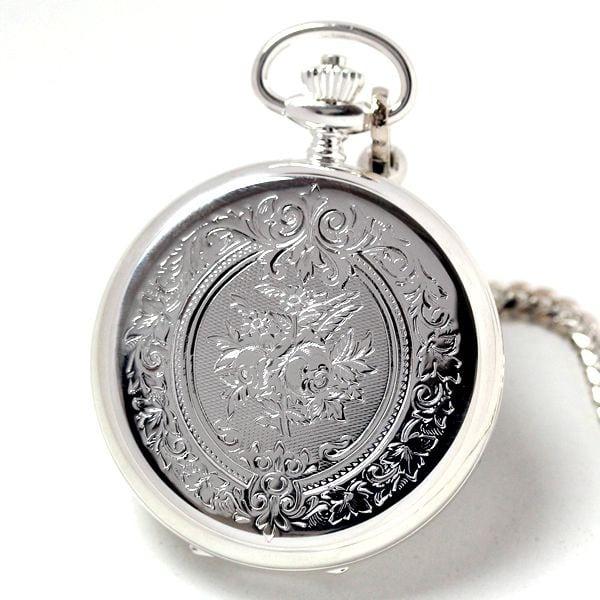 銀無垢懐中時計のケース刻印模様 裏側