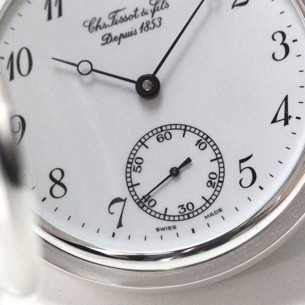 t83140612 ティソ懐中時計の文字盤。スモールセコンドのアップ