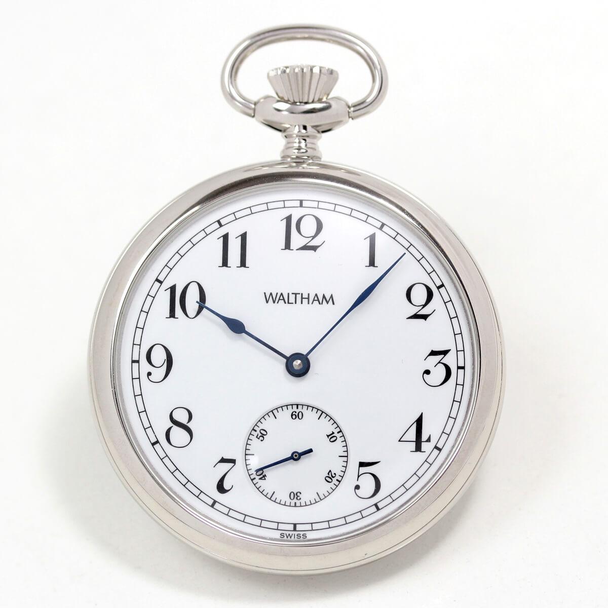 ウォルサム アラビア数字の懐中時計 銀無垢 ws32a