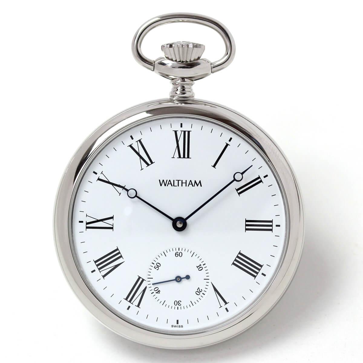 ウォルサム アラビア数字の懐中時計 銀無垢 ws32r