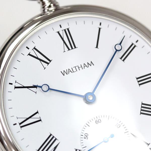 アラビア数字に青針のウォルサム懐中時計