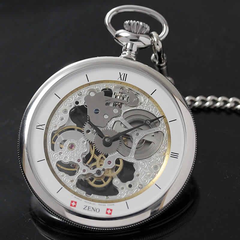 シルバーカラーの手巻き式懐中時計