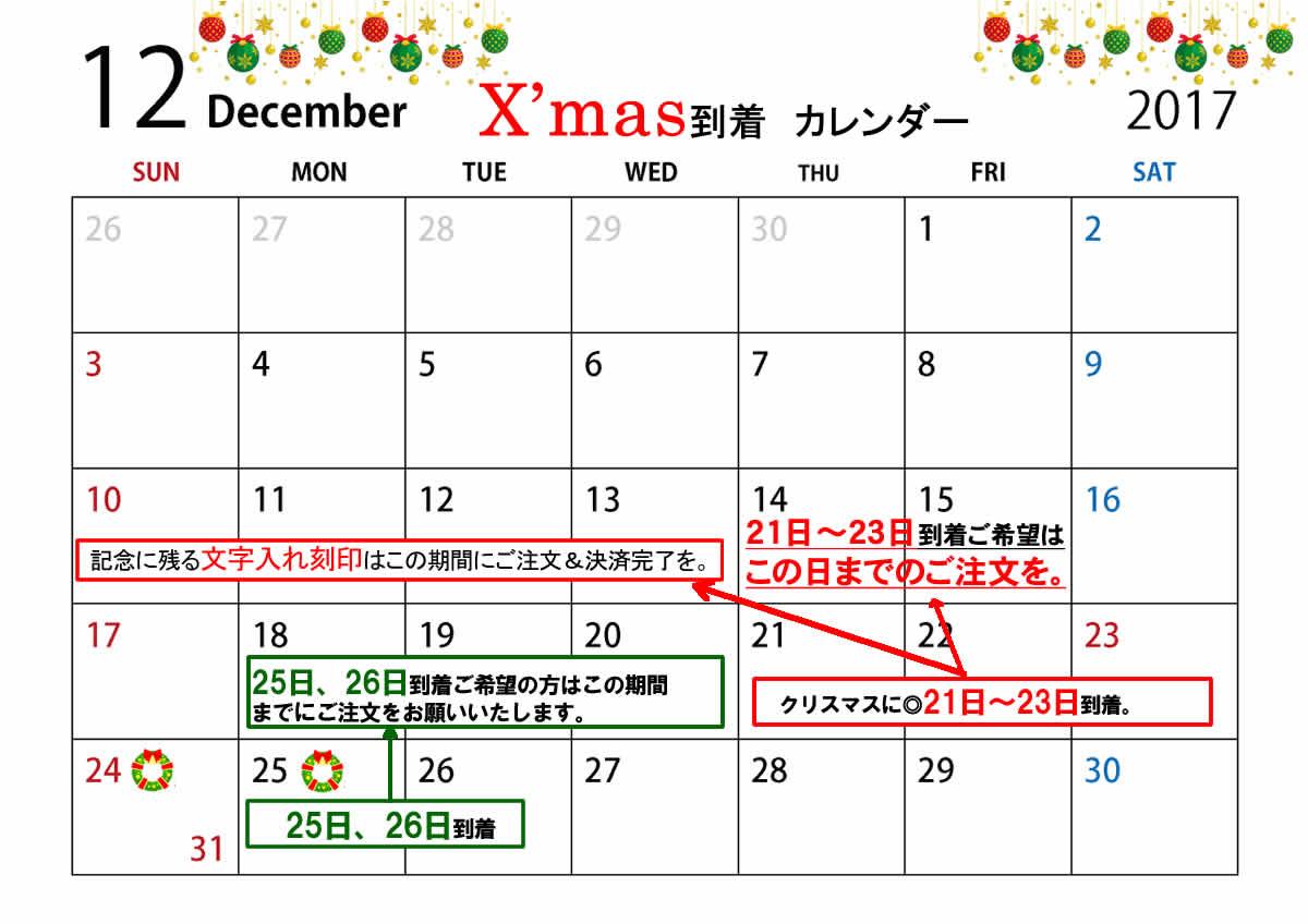 クリスマスプレゼント 対応納期について