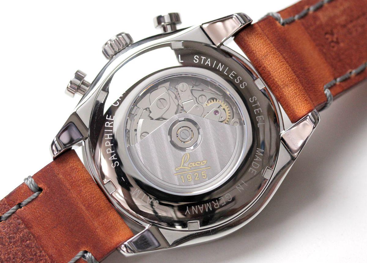 ラコ(Laco) シカゴ(chicago) 861584 腕時計 裏側からはバルジュー7750のムーブメントをご覧いただけます。