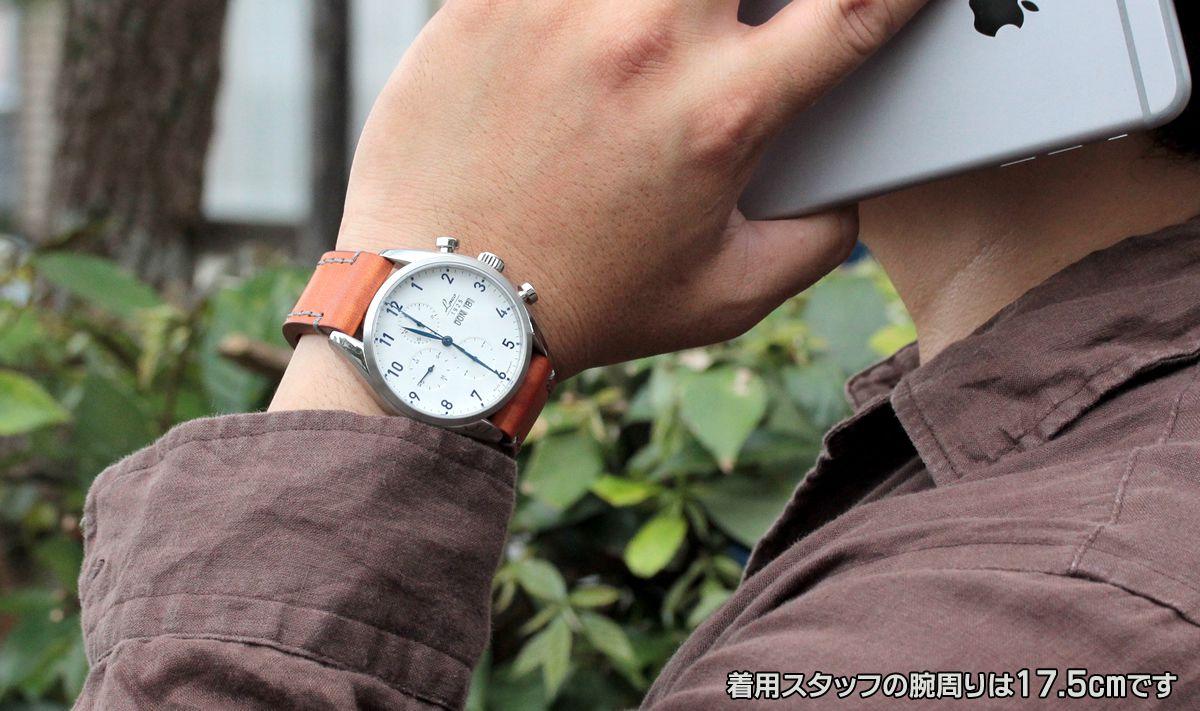 ラコ(Laco) シカゴ(chicago) 861584 腕時計 着用イメージ。着用スタッフの腕周りは17.5cmです