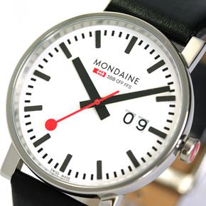 モンディーンの定番の文字盤デザイン。赤い秒針がポイント。三時方向のカレンダーが特徴です!
