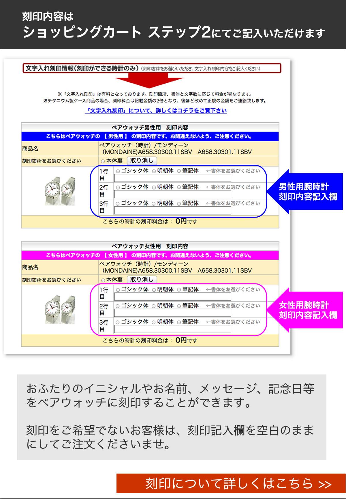 刻印内容はショッピングカートステップ2にてご記入いただけます