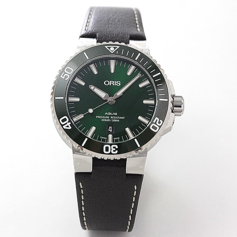 オリス/Oris/ダイビング/AQUIS(アクイス) デイト/ブラック文字盤/レザーベルト/ 733 7730 4157-07 5 24 10EB 腕時計
