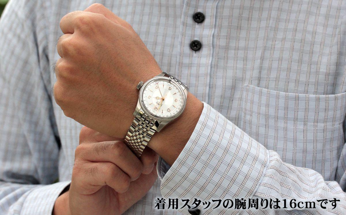 オリス ビッグクラウン オリジナル ポインターデイト75476964061M 試着画像。着用スタッフの腕周りは16cmです。