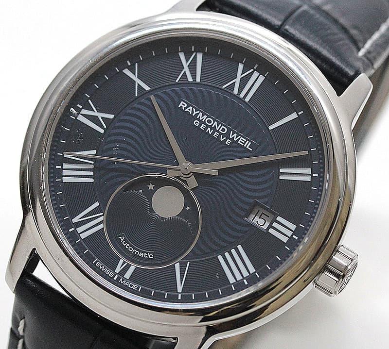 レイモンドウェイル マエストロ(MAESTRO)ムーンフェイズ 2239-STC-00509 ブルー レザー 腕時計