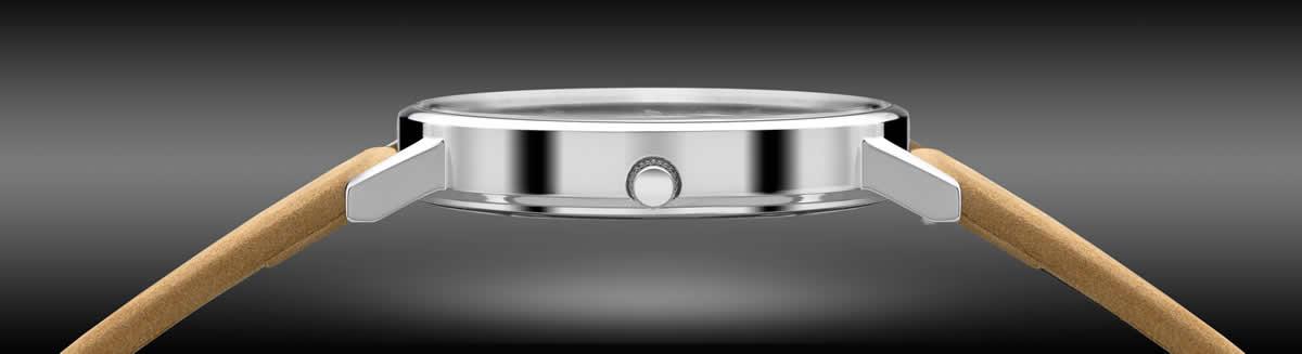 ケース側横から見ても無駄がない、とことんまでシンプルにこだわった腕時計。