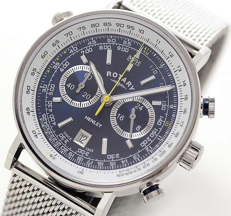 ROTARY(ロータリー) HENLY(ヘンリー) GB05235/05 クロノグラフ SSベルト ブルー 腕時計