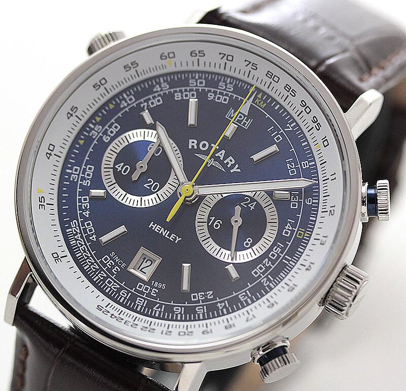 ROTARY(ロータリー) HENLY(ヘンリー) GS05235/05 クロノグラフ 革ベルト ブルー 腕時計