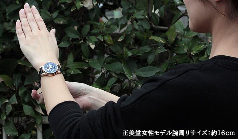 正美堂女性モデル腕周りサイズ:約16cm