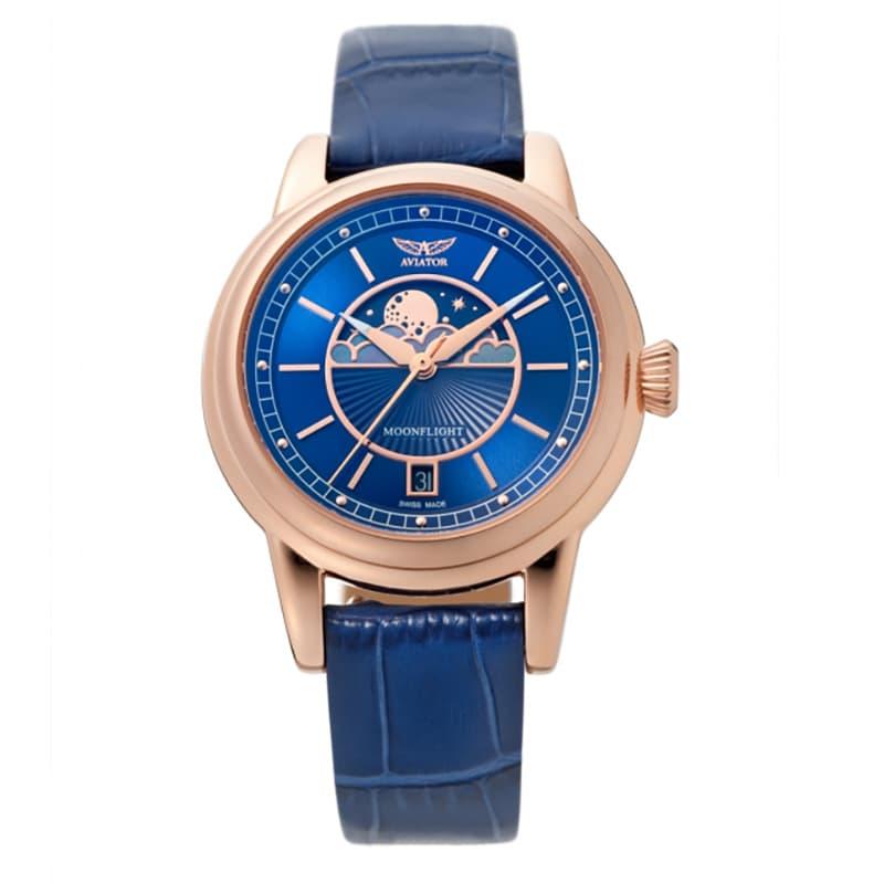 AVIATOR(アビエイター) MOONFLIGHT(ムーンフライト)DUSTY JADE Gold V.1.33.2.256.4 ブルー 腕時計
