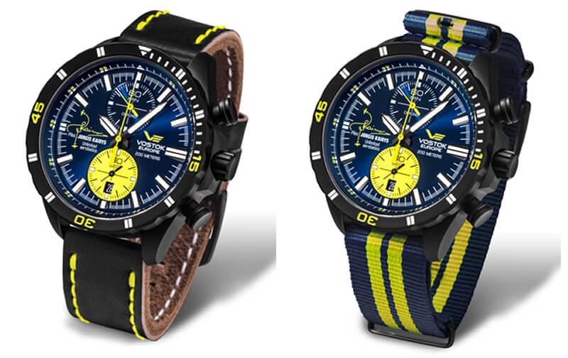 ボストークヨーロッパ 腕時計 ユルギス・カイリス コラボモデル 6s11-320j362 革ベルトとナイロンベルトの組み合わせ