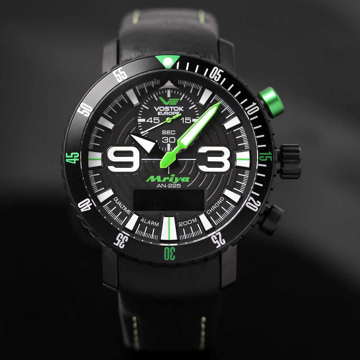 ボストーク ヨーロッパ MRIYA 多機能クォーツ式腕時計 9516-5554251 グリーン