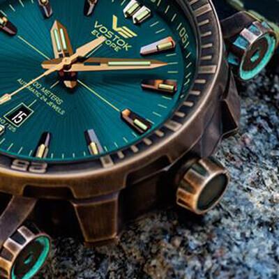 ボストークヨーロッパ nh35a-575o286 エネルギア ブロンズケースモデル 青錆 経年変化を楽しむ