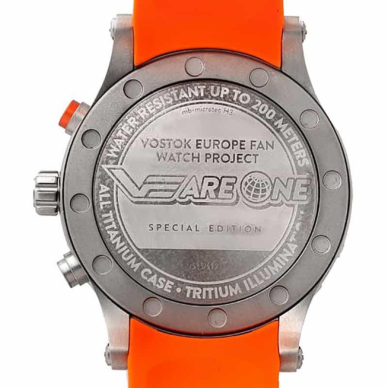 VOSTOK EUROPE(ボストーク ヨーロッパ) スペシャルエディション VEareONE プロジェクト限定ウォッチ オレンジ YM8J-510H434 腕時計 裏蓋