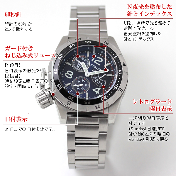 シーレーン 腕時計 クォーツ se46mbl 詳細