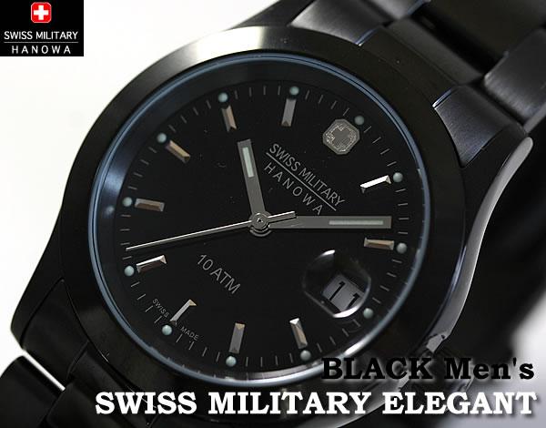 スイスミリタリー腕時計 エレガントブラック メンズ ML132