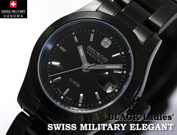 スイスミリタリー腕時計 エレガントブラック ML133