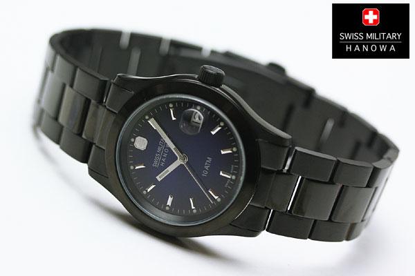 スイスミリタリー エレガントブラック 腕時計