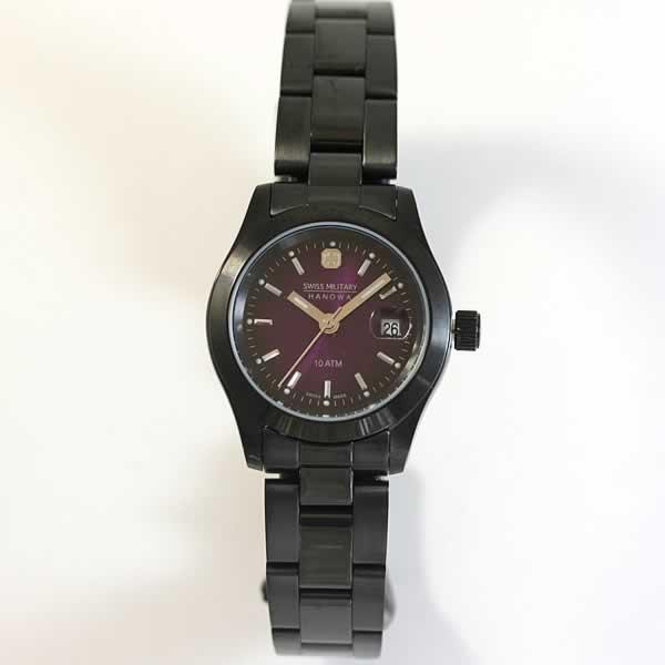 スイスミリタリー腕時計 エレガントブラック レディース ML191