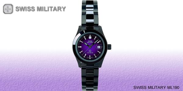 スイスミリタリー腕時計 エレガントブラック メンズ ML189