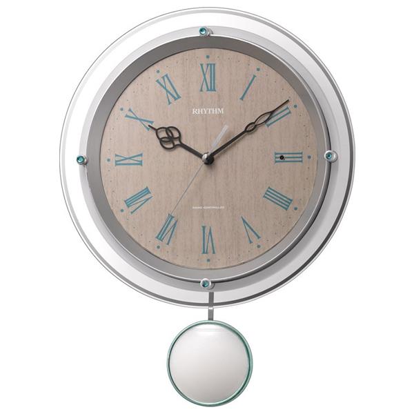 RHYTHM リズム 電波 振り子 掛け時計 ソフレール 8MX404SR03 薄茶木目